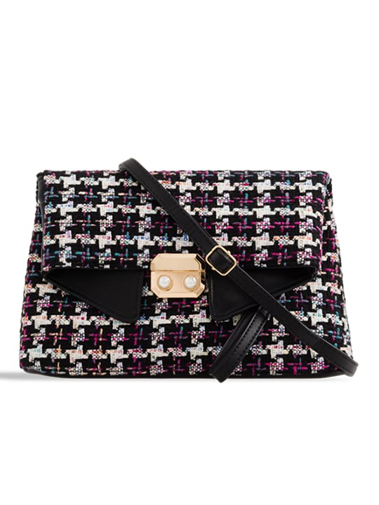 Black Check Woven Shoulder Bag