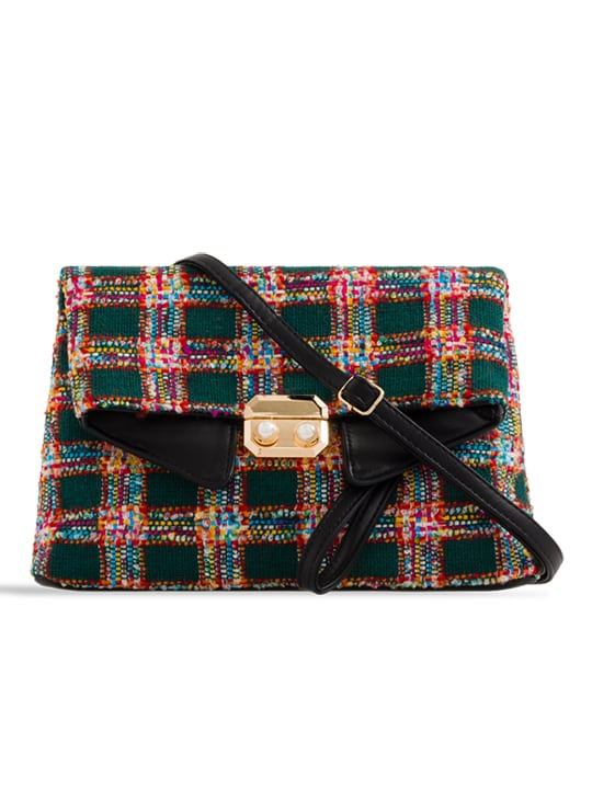 Multi Check Woven Shoulder Bag