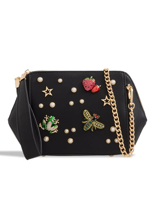 Black Faux Leather Embellished Clutch Bag