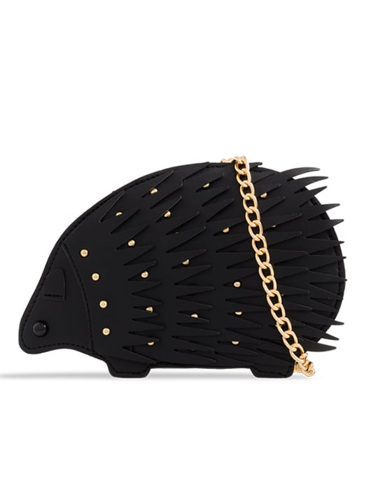 Black Hedgehog Studded Faux Leather Crossbody Bag