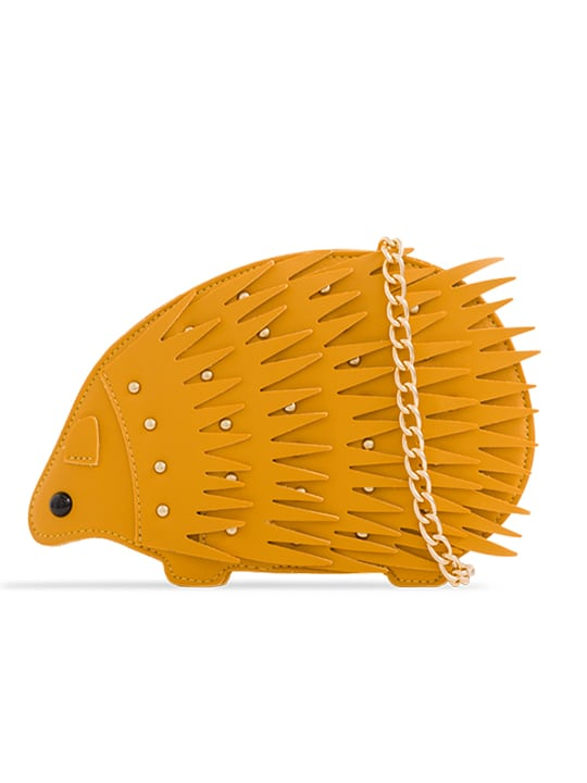 the front of mustard Animal Shaped Studded Faux Leather Crossbody Bag