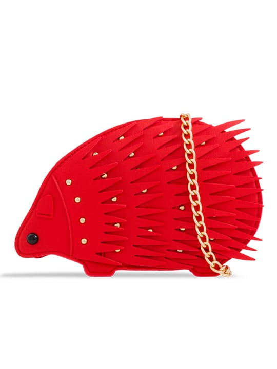 Red Hedgehog Studded Faux Leather Crossbody Bag