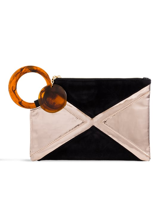 Black Metallic Handle Clutch Bag
