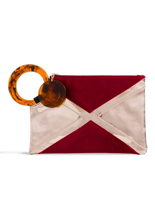 Burgundy Metallic Handle Clutch Bag