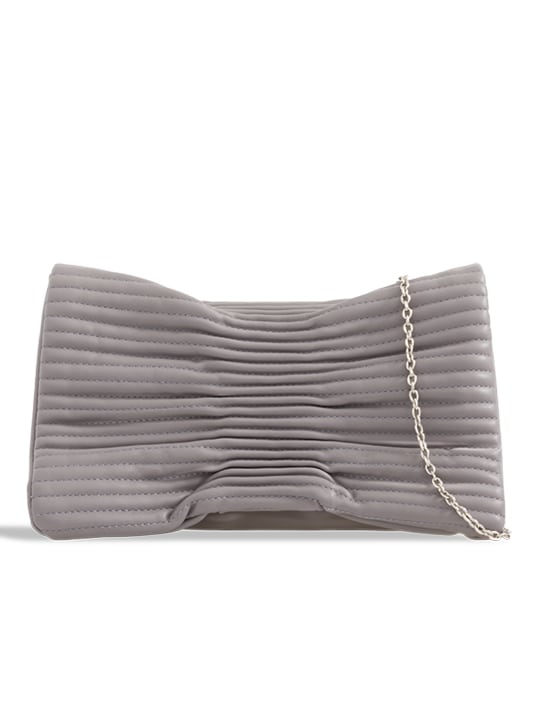 Grey Ruched Faux Leather Shoulder Bag