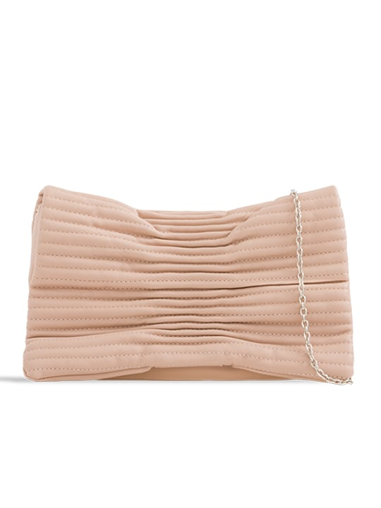 Nude Ruched Faux Leather Shoulder Bag