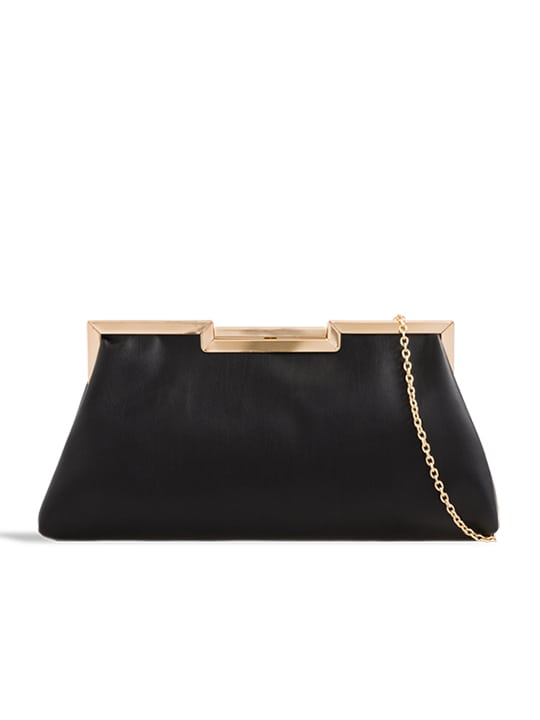 Black Soft Faux Leather Shoulder Bag