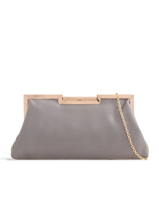 Grey Soft Faux Leather Shoulder Bag