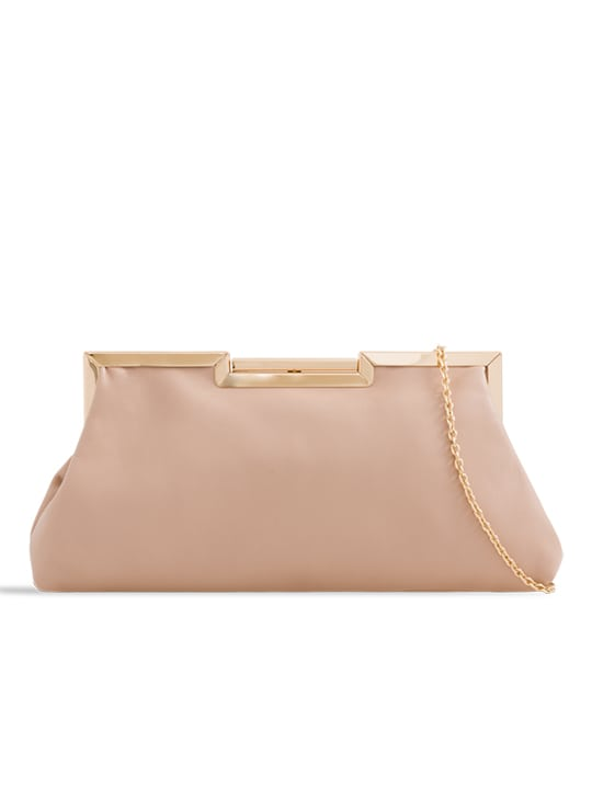 Nude Soft Faux Leather Shoulder Bag