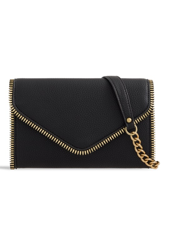 Black Faux Leather Clutch Bag With Zipper Detail