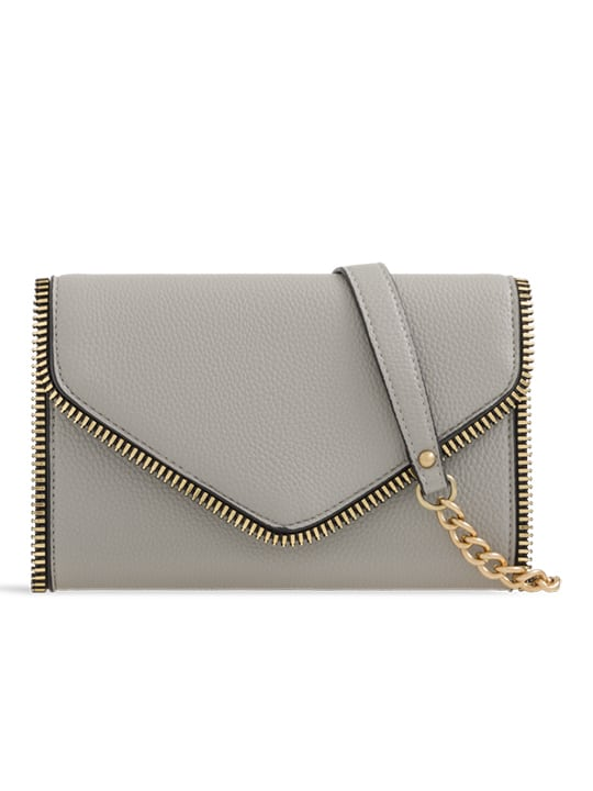 Grey Faux Leather Clutch Bag With Zipper Detail