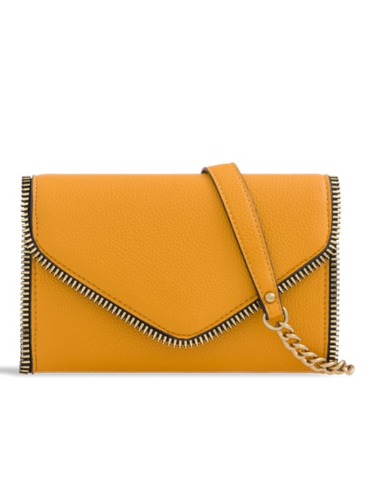 Yellow Faux Leather Clutch Bag With Zipper Detail