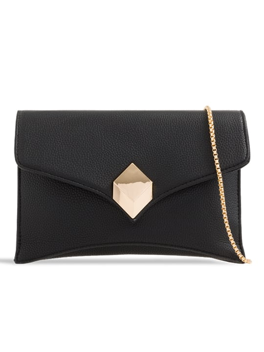 front of black Soft Faux Leather Envelope Clutch