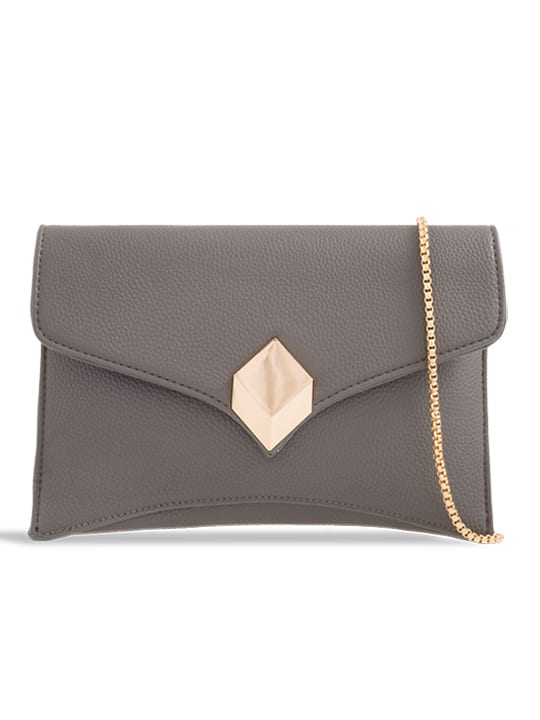 front of Grey Soft Faux Leather Envelope Clutch