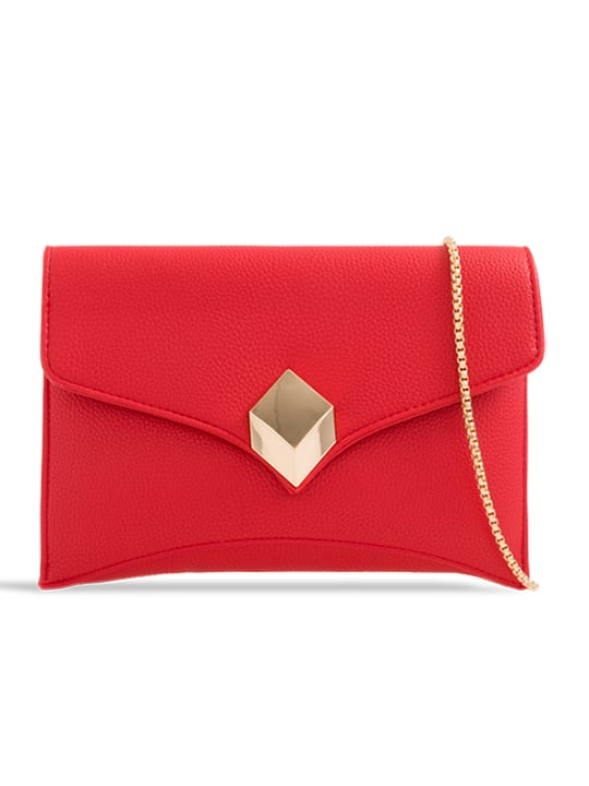 front of Red Soft Faux Leather Envelope Clutch