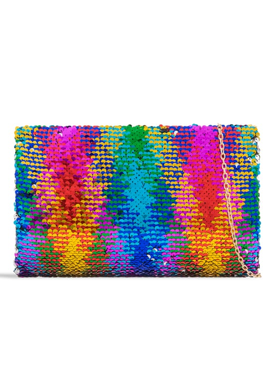 front of Rainbow Two Way Sequin Clutch Bag