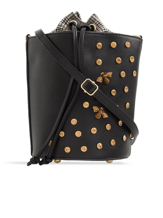 front of black Embellished Drawstring Bucket Bag