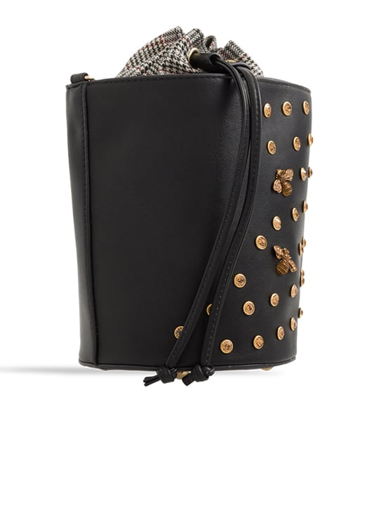 black Embellished Drawstring Bucket Bag