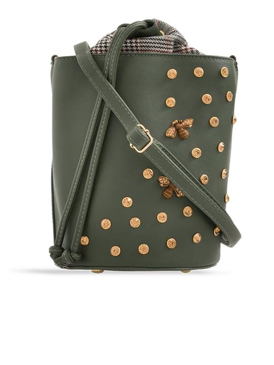 front of Crocodile Embellished Drawstring Bucket Bag