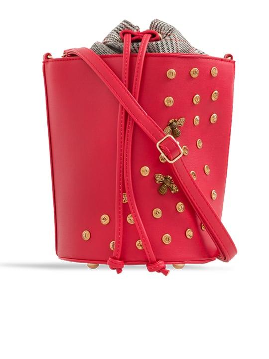 front of Red Embellished Drawstring Bucket Bag