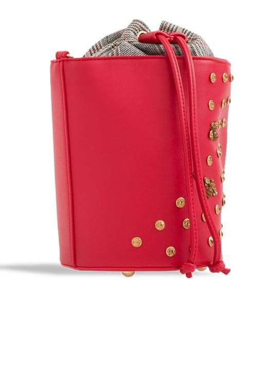 side of Red Embellished Drawstring Bucket Bag
