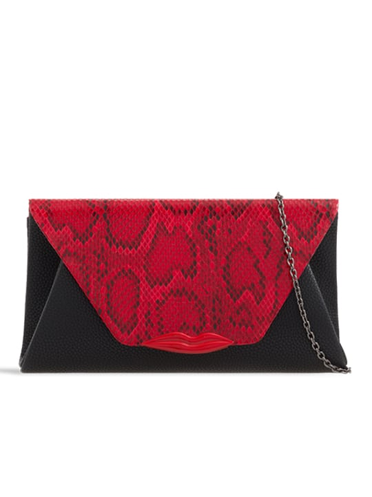 front of Black Snakeskin Pattern Lip Detail Envelope Clutch