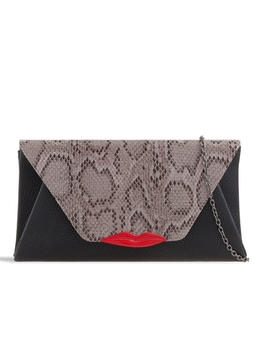 front of Grey Snakeskin Pattern Lip Detail Envelope Clutch