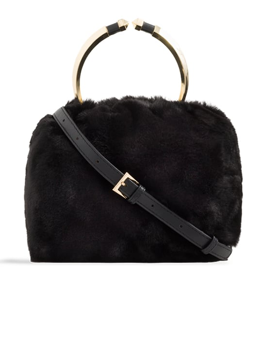 front of Black Faux Fur Metal Handle Bucket Bag