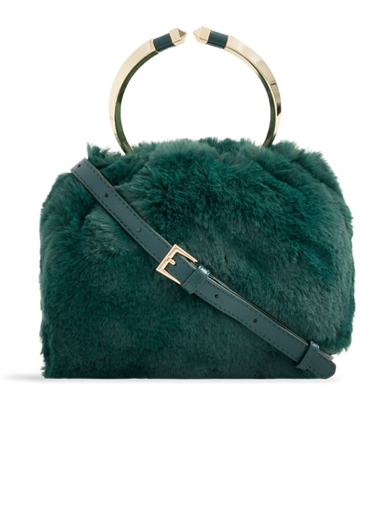 front of Green Faux Fur Metal Handle Bucket Bag