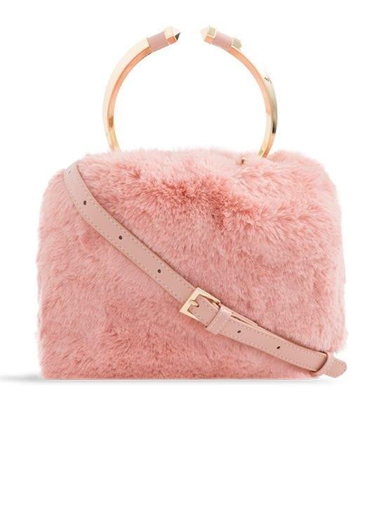 front side of pink Faux Fur Metal Handle Bucket Bag