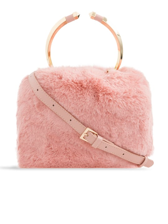 front side of pink Faux Fur Metal Handle Bucket Bag