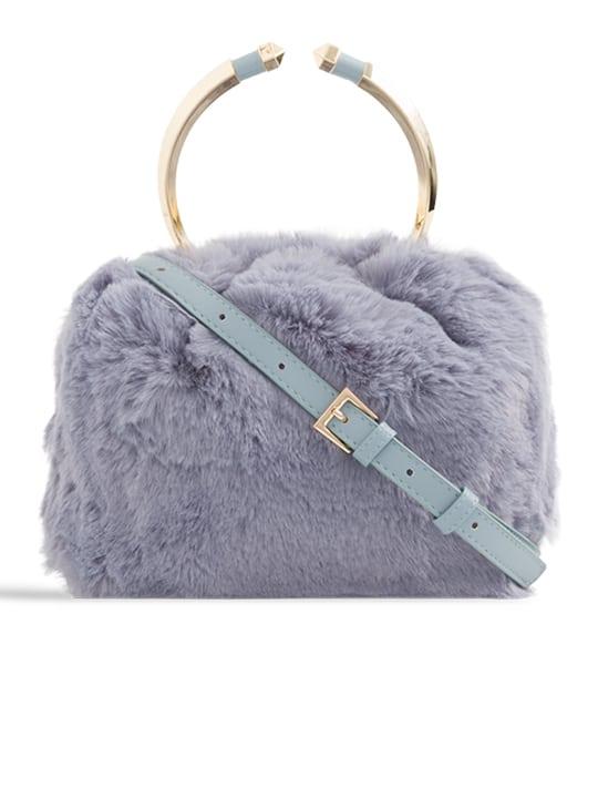 front of Grey Faux Fur Metal Handle Bucket Bag