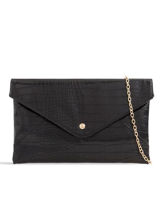 front of Black Faux Crocodile Pattern Envelope Clutch Bag