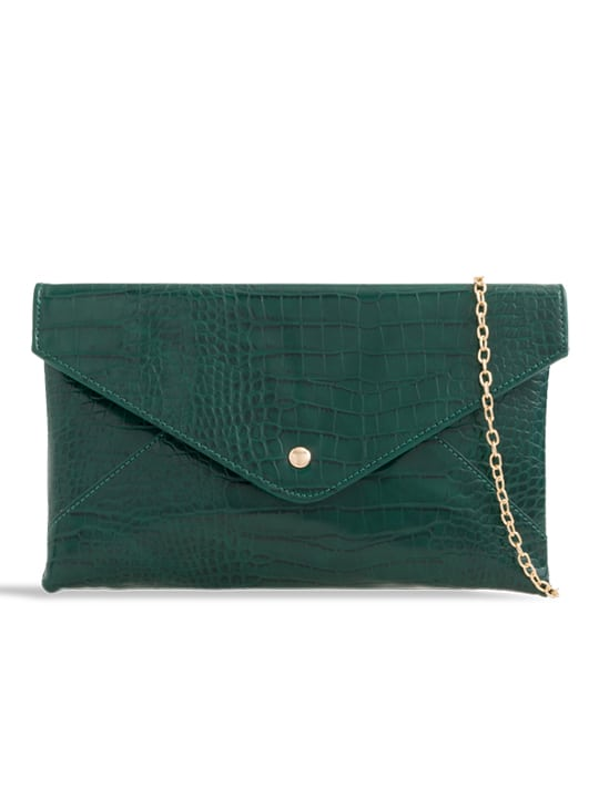 front of Green Faux Crocodile Pattern Envelope Clutch Bag