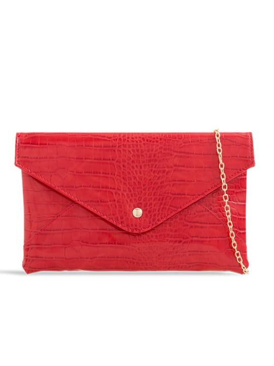 front of Red Faux Crocodile Pattern Envelope Clutch Bag