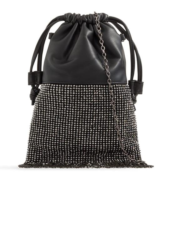 front of Black Sparkly Diamante Bucket Bag