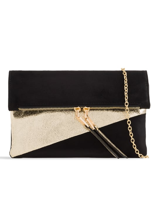 front of Black Faux Suede Metallic Foldover Clutch Bag