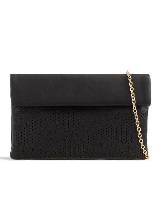 the front of black folded laser cut clutch bag