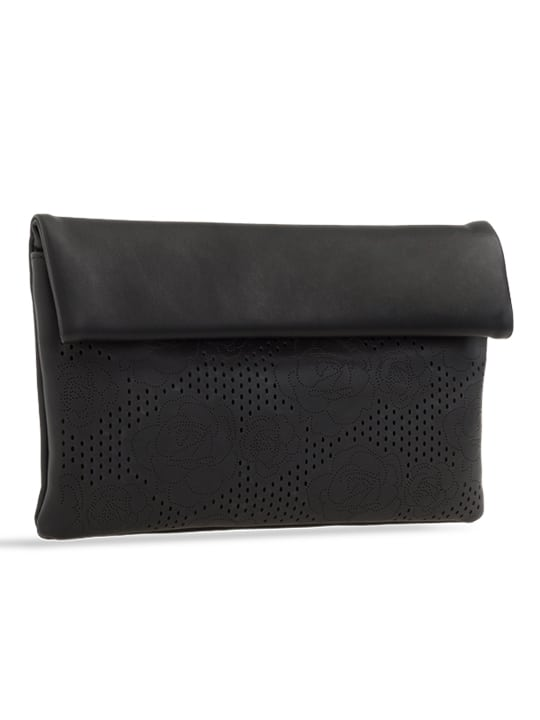 side of black folded laser cut clutch bag