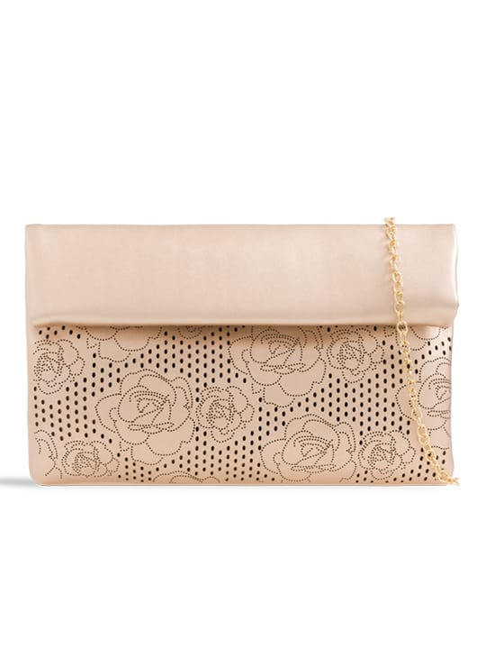 front of Champagne Folded Laser Cut Clutch Bag