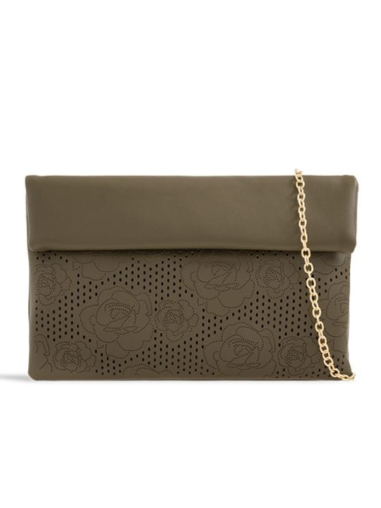 front of Green Folded Laser Cut Clutch Bag