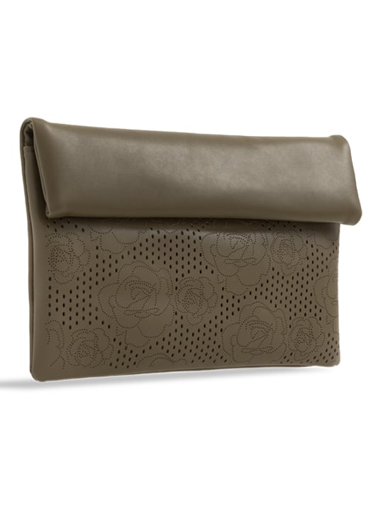 side of Green Folded Laser Cut Clutch Bag