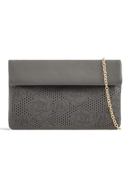 the front of Grey Folded Laser Cut Clutch Bag