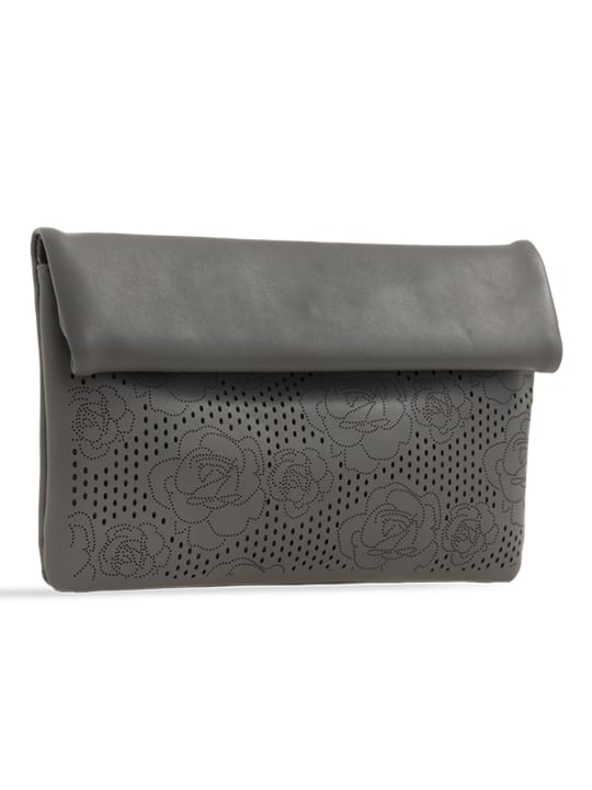 side of Grey Folded Laser Cut Clutch Bag