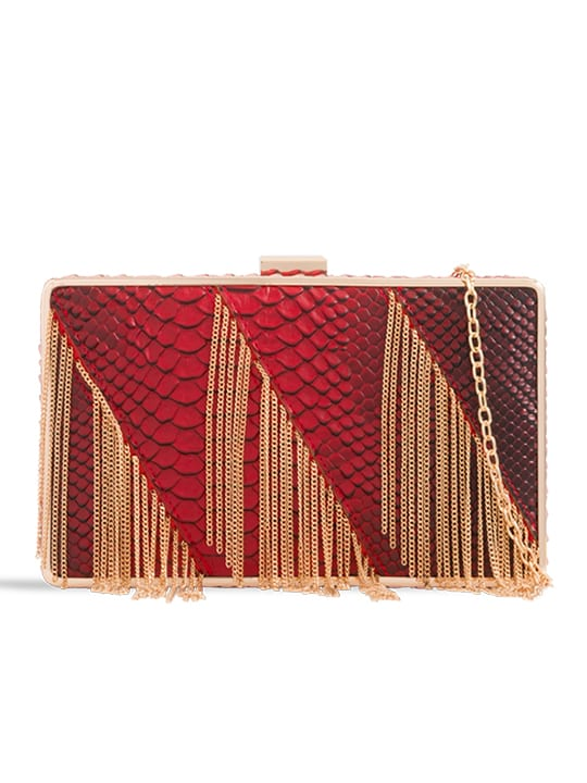 front of Red Crocodile Pattern Metal Fringe Box Clutch