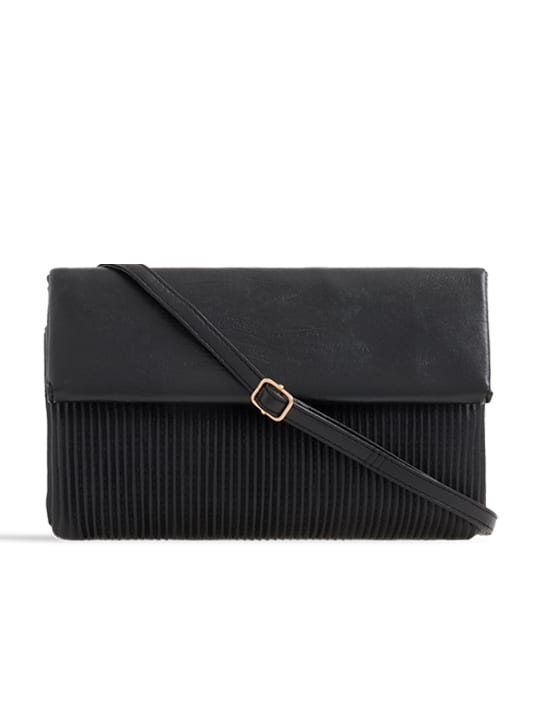 Black Ruched Faux Leather Foldover Clutch