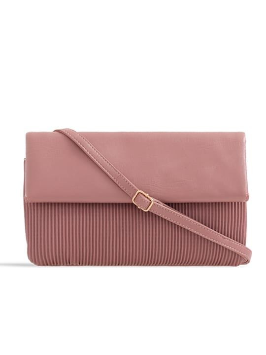 Pink Ruched Faux Leather Foldover Clutch