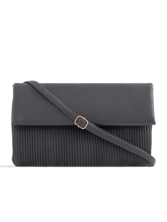 Grey Ruched Faux Leather Foldover Clutch