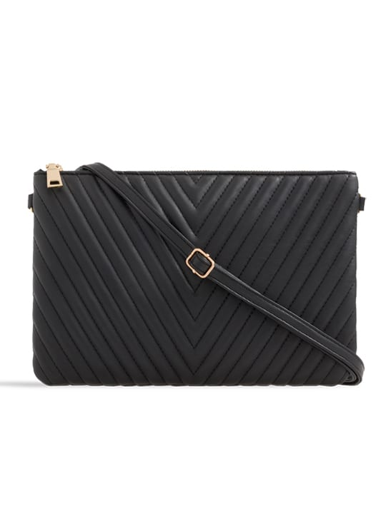 Black Quilted Zipper Clutch