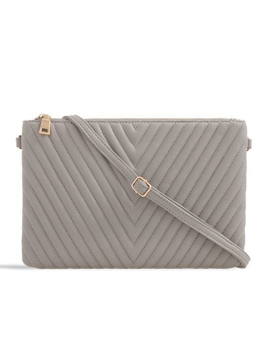 Grey Quilted Zipper Clutch